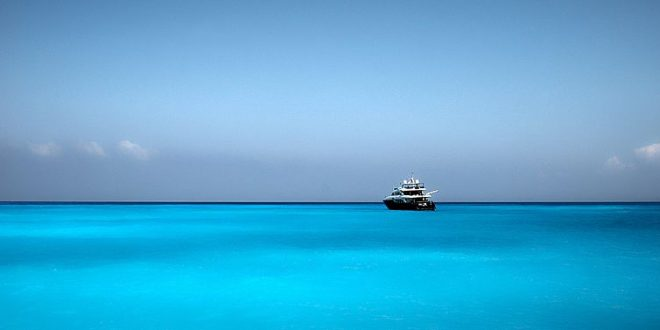 "Zakynthos:- Superyacht ""Blue Breeze"" anchored off the coast of Navagio ""shipwreck cove & Xanax moored at Zakynthos Port."